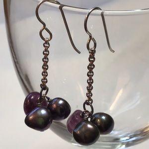 Jewelry - Amethyst & FWP Sterling Earrings NEW